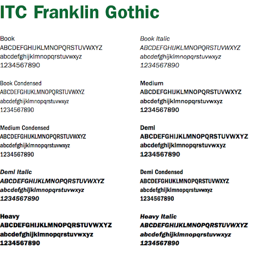 Franklin Gothic Font examples