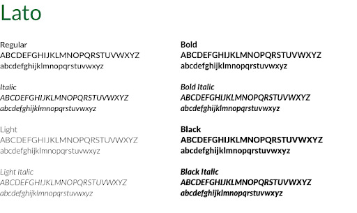 Lato font examples