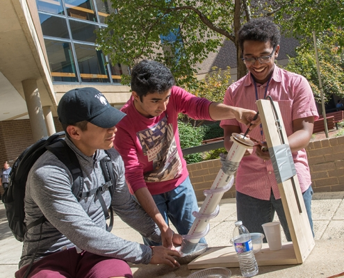 Students doing construction